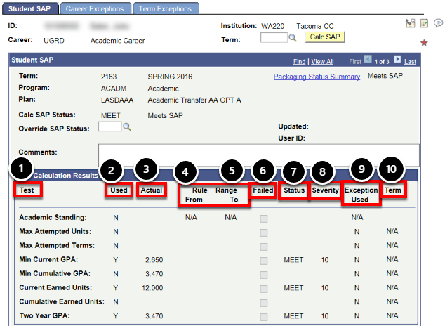 sap calc results field definition
