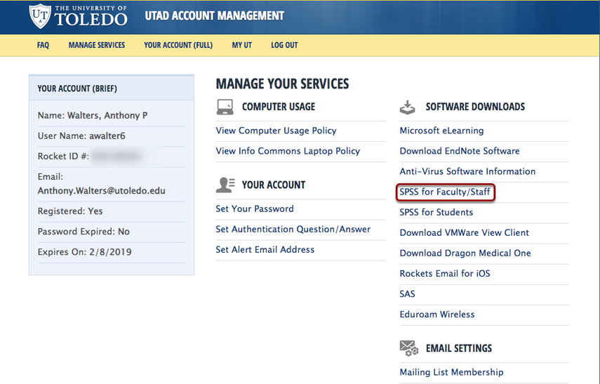Image of the UTAD Account Management v4.5: Manage your Services, with the Download SPSS package  buttonnoutlined with a red circle.