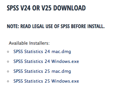 Image of the SPSS software download screen with the box containing the links for different operating systems outlined with a red circle.