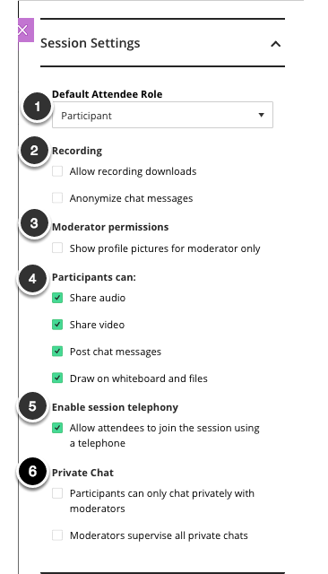 Image of the Session settings part of the Create New Session dialog box with the following items: 1. Default Partipant Role 2. Recordings, 3. Moderator Permissions. 4. Participants Can, 5. Enable Session Telephony