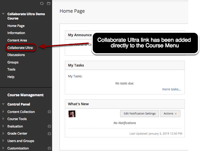 Option A: Creating a Collaborate Ultra Link in the Course Menu