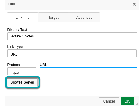 Select Browse Server.
