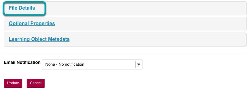 Select file details