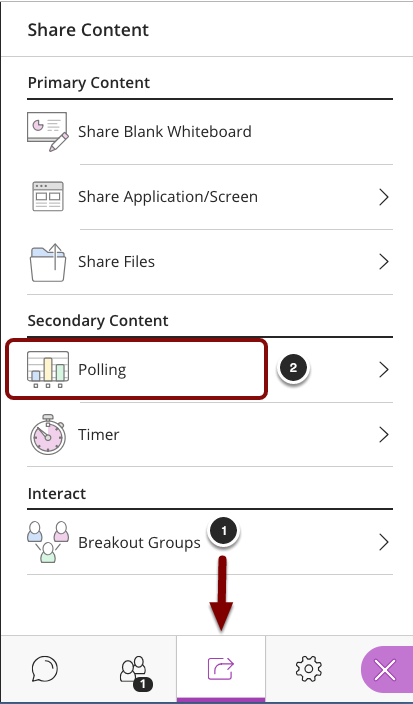 image of the Collaborate panel showing the following items: 1.In the Collaborate Panel, click on the Share Content tab.2.Select Polling from the menu.