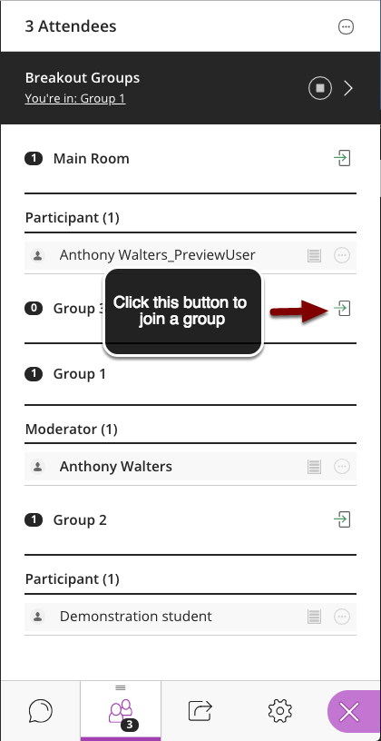 Image of the Breakout groups screen showing a list of groups with arrows pointing to the join button with instructions to click this button to join a group