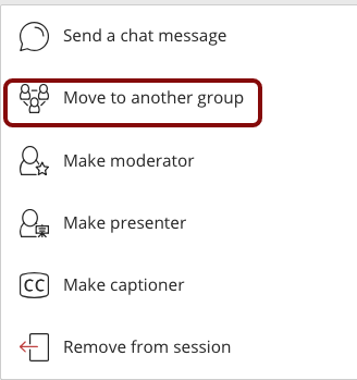 Image of the participant options menu with the Move to another group option outlined in red