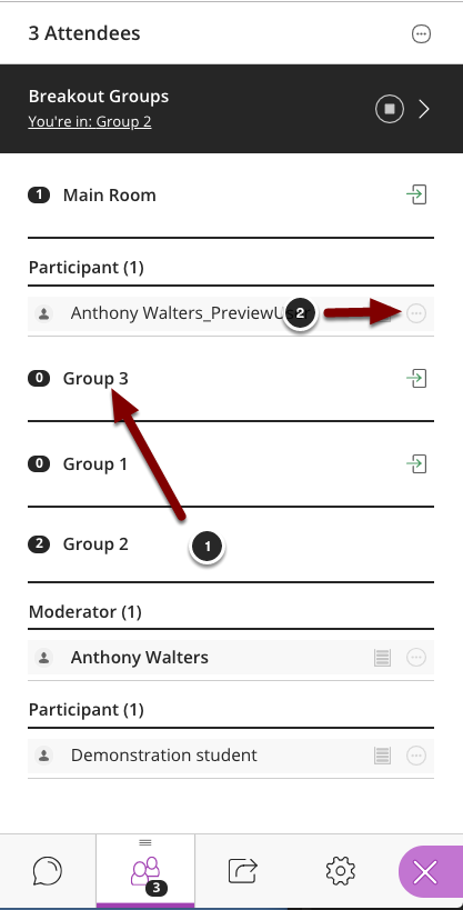 Image of the Participants list with the following items: 1.Click on the group name to see the list of members in the group.2.Click on the Options button for the member you wish to move.