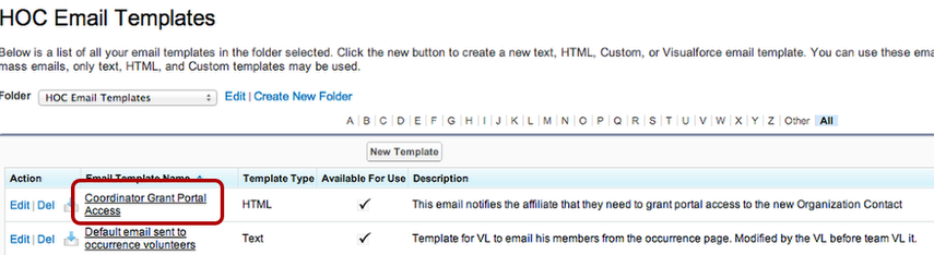 To edit the CONTENT of the email, click on the email template name itself: