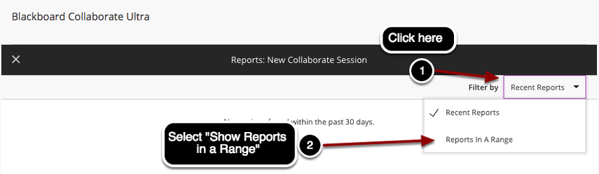 Showing report in a range