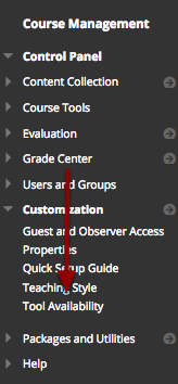 Access the Course's Tool Availability Page
