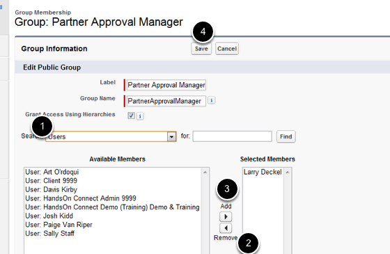 Add New Partner Approval Manager to Group