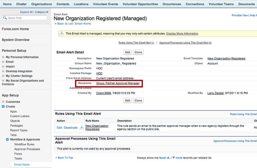 "Check that the email alert ""New Organization Registered"" is being sent to the Partner Approval Manager Group"
