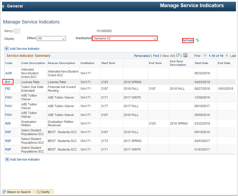 Manage Service Indicators page