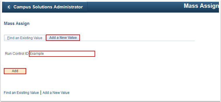 Mass Assign Add a New Value tab