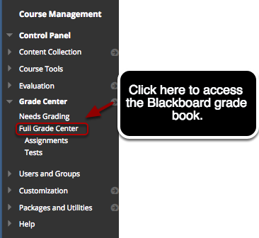 Step 1 - Accessing the Grade Center (grade book)