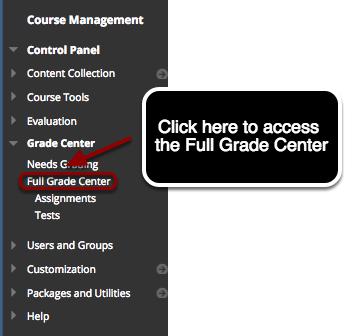 Step 1 - Accessing the Grade Center