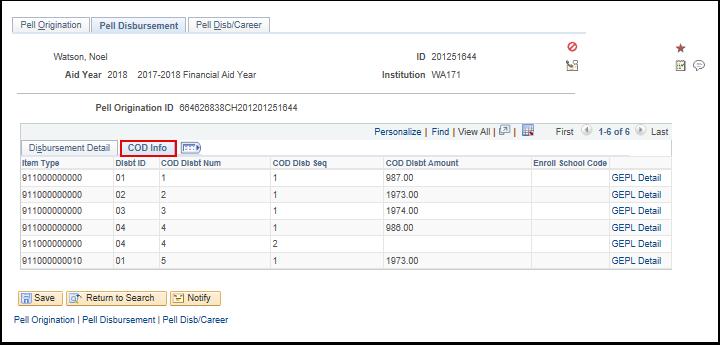 COD Info tab on Pell Disbursment tab