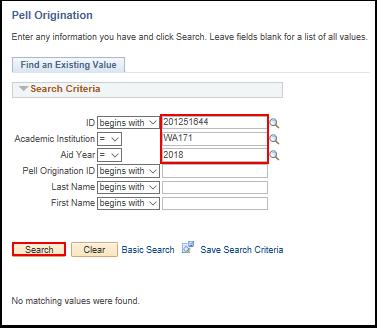 Pell origination search page