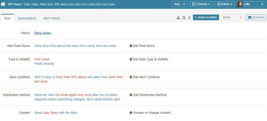 From KPI Alerts / Rules tab, you can edit any of the values for this alert