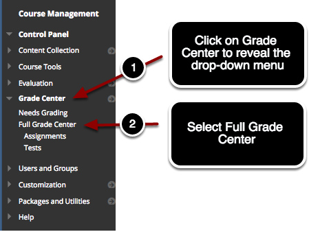 Access the Full Grade Center from the Control Panel