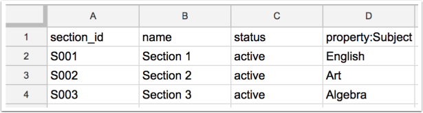Sections CSV Example