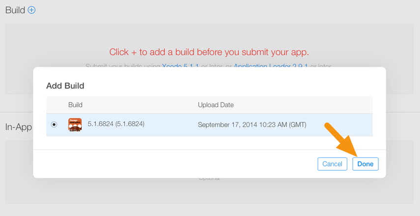 """In the window that appears, select the build you want to submit and click """"Done."""""""
