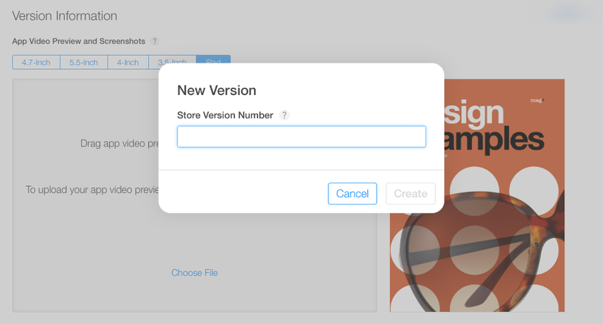 """In the window that appears, enter the new version number of your app and click on """"Create."""""""