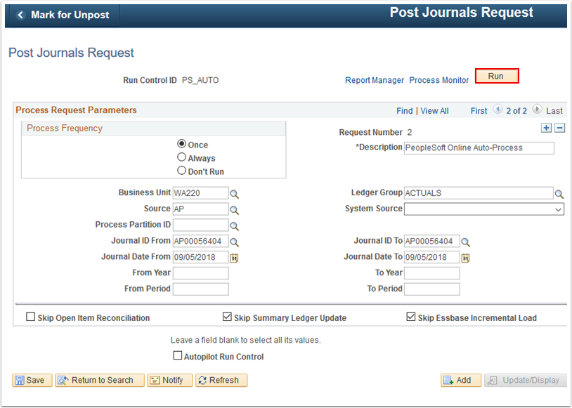 Post Journals Request page