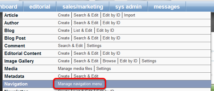 How can I change them? First, open your Navigation Manager found under Editorial.