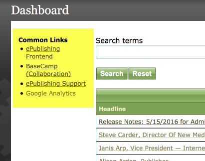 Where are these links on my Admin tool?