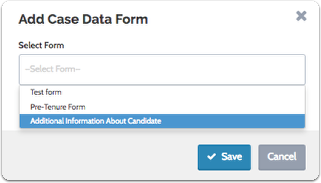 "Select a form to add and click ""Save"""