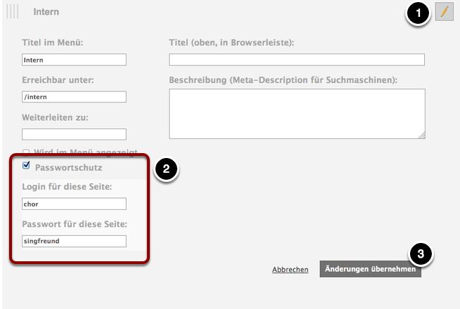 Aktiviere den Passwortschutz für eine ausgewählte Seite.
