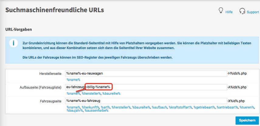 URLs festlegen