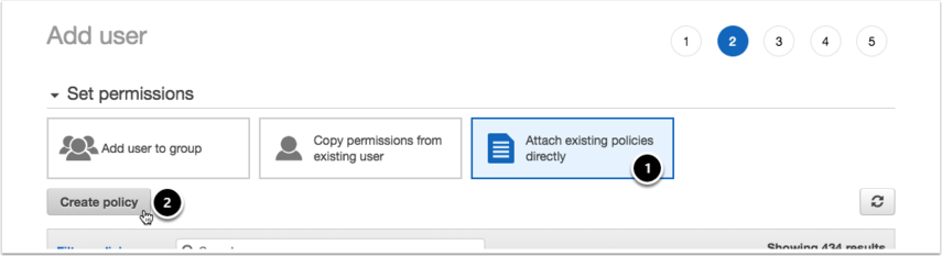 Select Attach existing policies directly and click Create policy