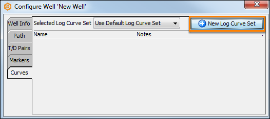 Add new log curve set