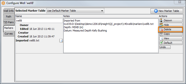 Delete a well component from the project database