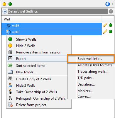 Export basic well info