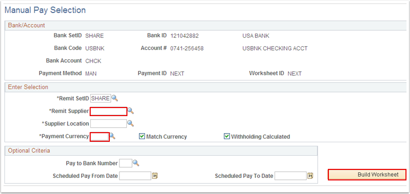 Manual Pay Selection page