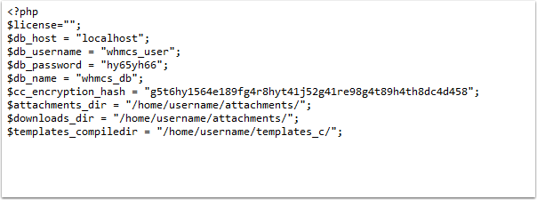 Example valid configuration.php