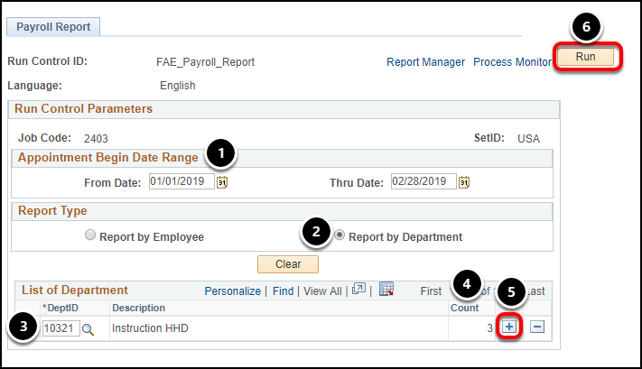 Payroll Report settings