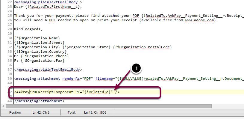 Receipt PDF Component Options