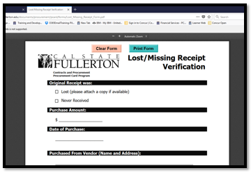 Lost/missing receipt verification form.