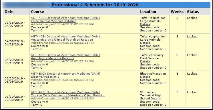 Screenshot of View Schedule report.