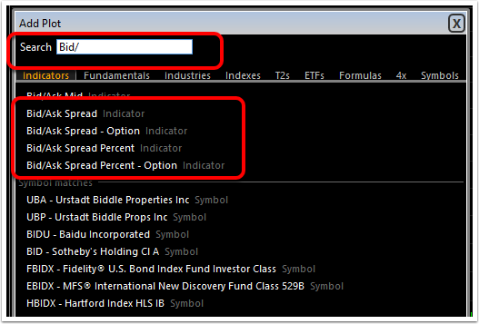 2. Select the technical indicator you would like to add from the list or type it into the search field.