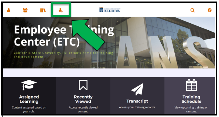 The Employee Training Center homepage / dashboard. There is a green arrow pointing to the Administration icon on the top left of the Dashboard.