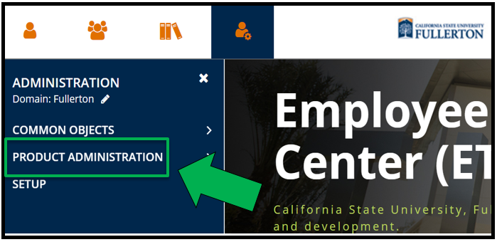 A view  of the top left of the Employee Training portal / Dashboard. The Administration icon has been selected. The Administration Menu is open. There is a green arrow pointing to Product Administration.