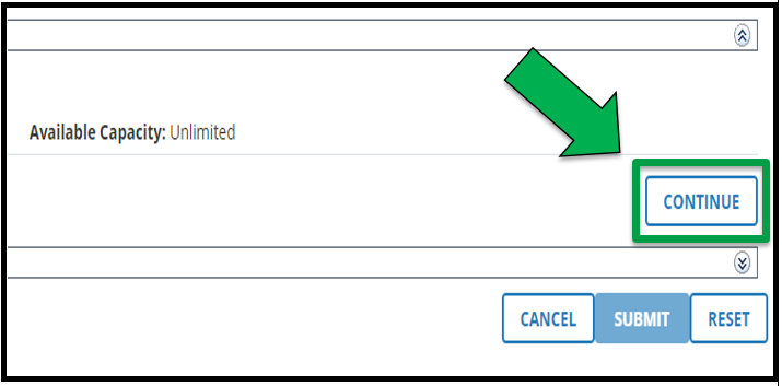 This is a view of the right hand side of the Batch Registration page. There is a green arrow pointing to Continue.