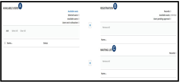 This is the Batch Registration page. This shows A: Available Users, B:Registration, C: Waiting List. There are Blue circles marking A,B, and C.