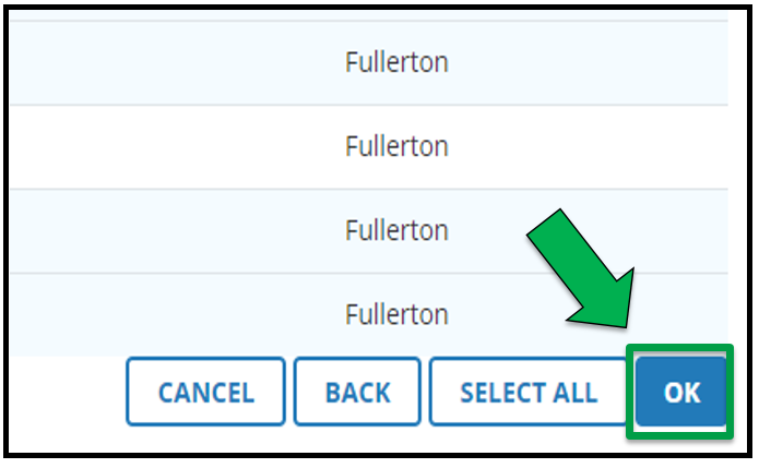 This is the bottom right hand side of the Select Users page.  There is a green arrow pointing to the OK button.
