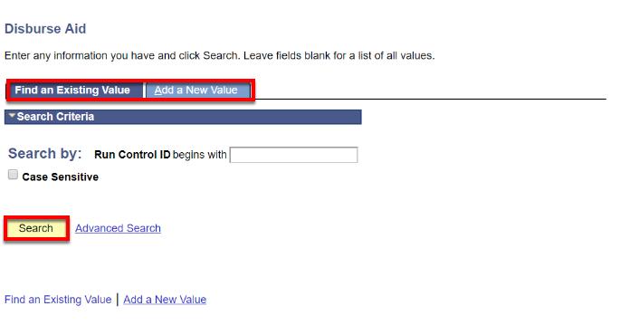 Disburse Aid search page